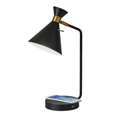 Maxine 19 in. Matte Black w. Antique Brass Accents Desk Lamp with Qi Wireless Charging