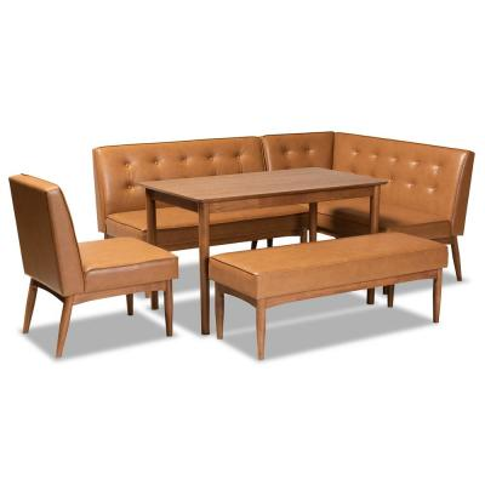 Arvid 5-Piece Tan and walnut brown Dining Nook Set