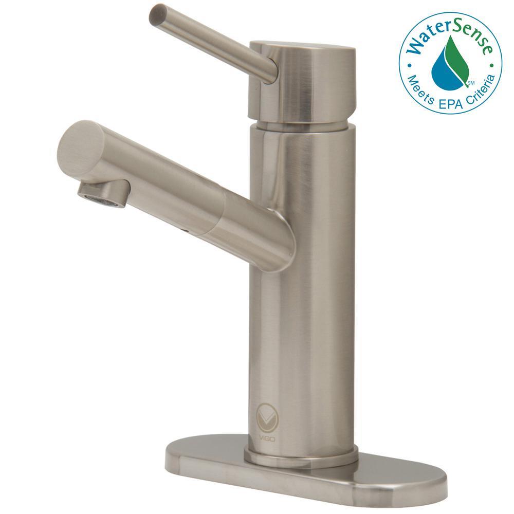 VIGO Noma Single Hole 1-Handle Bathroom Faucet in Brushed Nickel ...