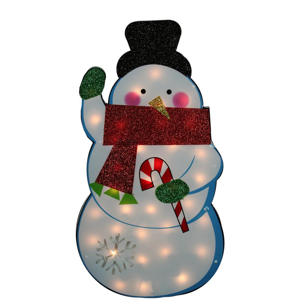 30 in. Christmas Standing Tinsel Snowman Lighted Outdoor Decoration with Clear