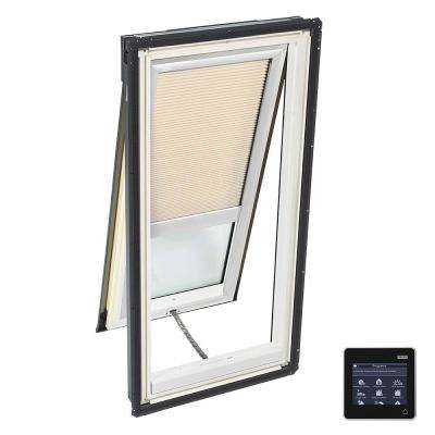 21 in. x 54-7/16 in. Venting Deck-Mount Skylight w/ Laminated Low-E3 Glass and Beige Solar Powered Room Darkening Blind