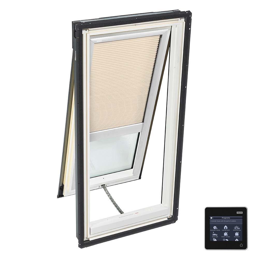 VELUX 30-1/16 in. x 45-3/4 in. Venting Deck Mount Skylight w/ Tempered Low-E3 Glass & Beige Solar Powered Room Darkening Blind