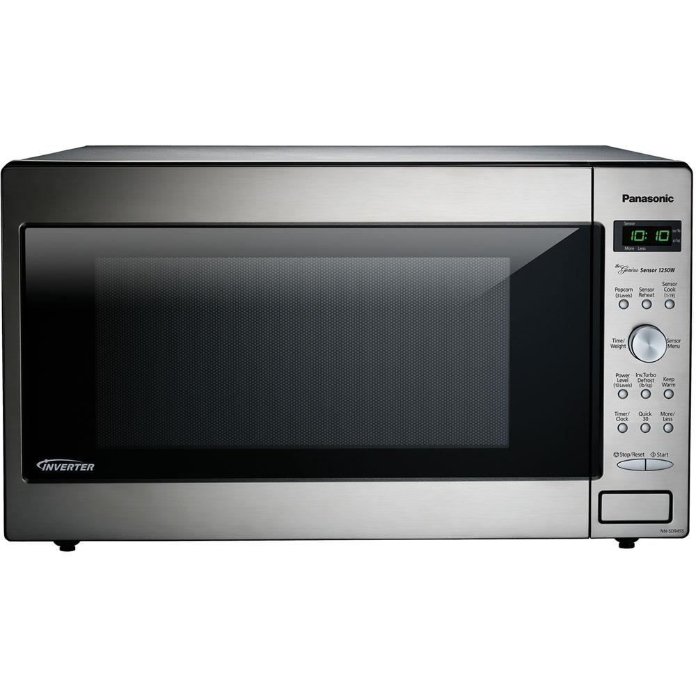 Panasonic 2.2 cu. ft. Countertop Microwave in Stainless Steel (Silver) Built in Capable with Sensor Cooking and Inverter Technology The Panasonic 1.6 cu. ft. 1250-Watt Genius Sensor microwave oven with Inverter Technology is perfect for the countertop. Unlike other microwave ovens, Inverter technology delivers a seamless stream of cooking power, even at lower settings, for precision cooking that preserves the flavor and texture of your favorite foods. With Inverter, you can poach, braise and even steam more delicate foods, all with the speed and convenience of a microwave. With the touch of our Genius Sensor cooking button, this microwave takes guesswork out of creating a great meal by automatically setting power levels and adjusting cooking or defrosting time. The sensor measures the amount of steam produced during cooking and signals the microprocessor to calculate the remaining cooking time at the appropriate power level. Plus with Turbo Defrost, you can thaw foods faster than ever. Color: Stainless Steel.