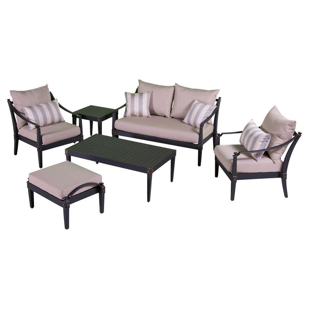 Astoria 6-Piece Love and Club Patio Deep Seating Set with Slate Gray Cushions