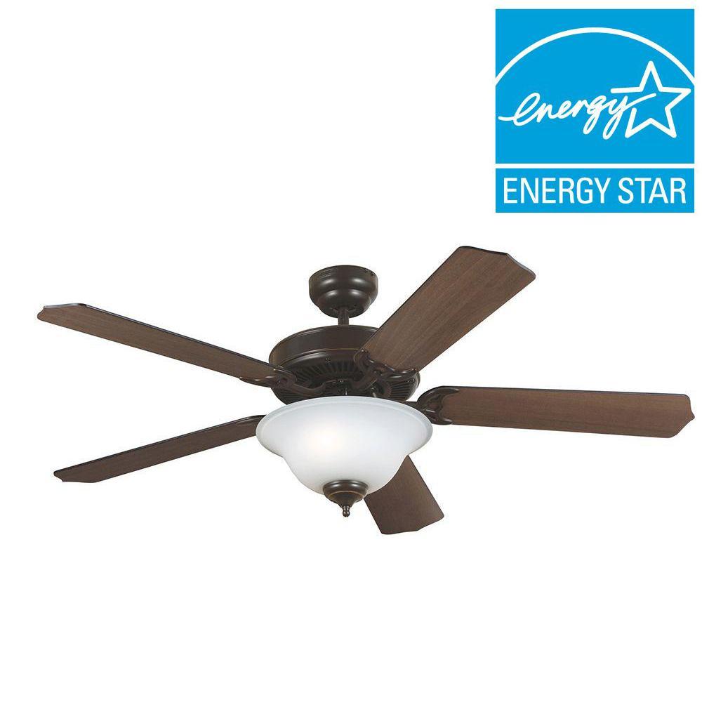 Quality Max Plus 52 in. Heirloom Bronze Ceiling Fan with Cerused Oak/Ebony Blades