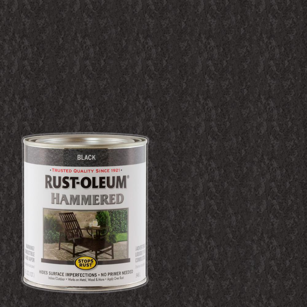 Rust Oleum Stops Rust 1 Qt Black Hammered Rust Preventive Paint