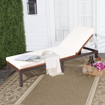 2-Pieces Acacia Wood Outdoor Chaise Lounge with Beige Bean Cushions