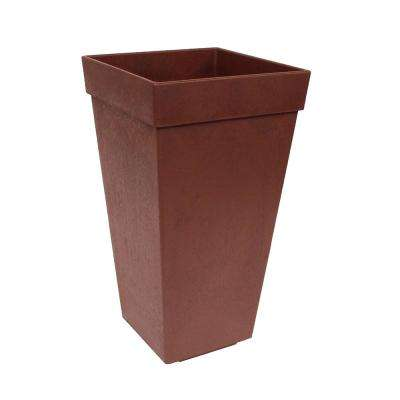 Symphony 12 in. W x 20 in. H Terra Cotta Rubber Self-Watering Planter