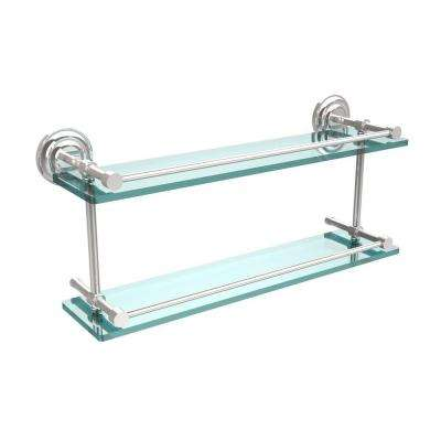 Que New 22 in. L x 8 in. H x 5 in. W 2-Tier Clear Glass Bathroom Shelf with Gallery Rail in Polished Chrome