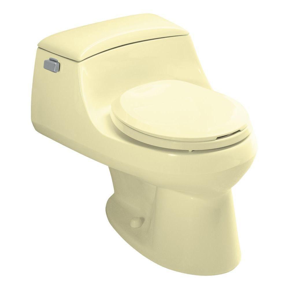 San Raphael 1-Piece 1.6 GPF Single Flush Round Front Toilet in Sunlight Yellow