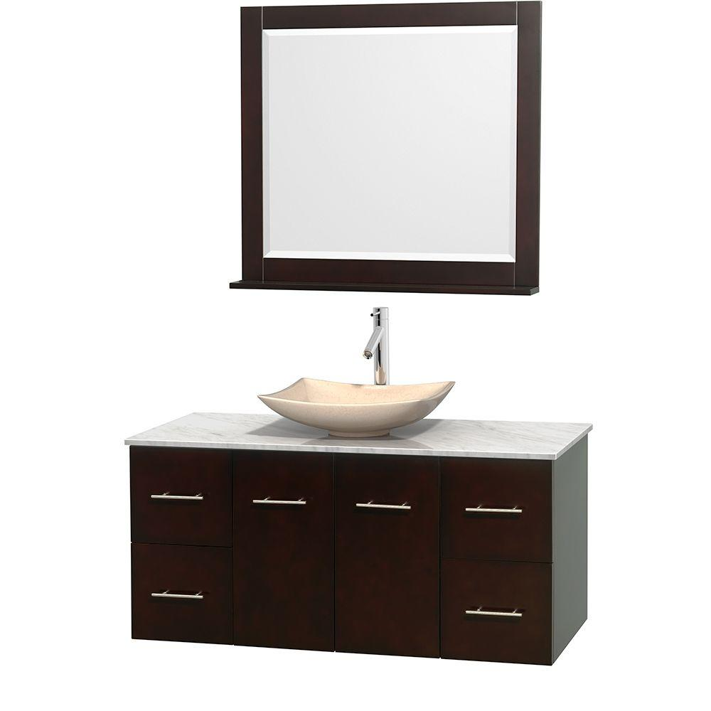 Wyndham Collection Centra 48 in. Vanity in Espresso with Marble Vanity Top in Carrara White, Ivory Marble Sink and 36 in. Mirror