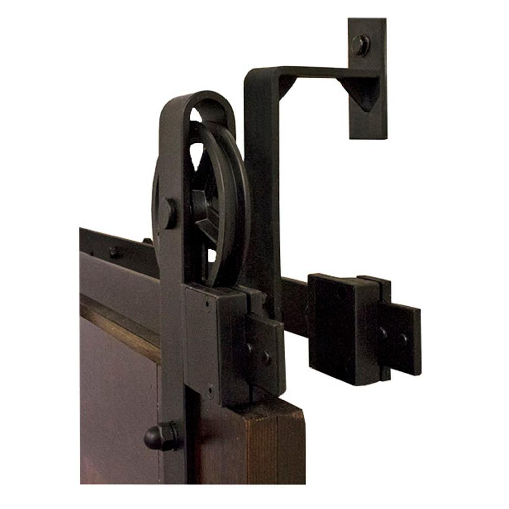 By-Passing Hook Strap Black Rolling Barn Door Hardware Kit with 5