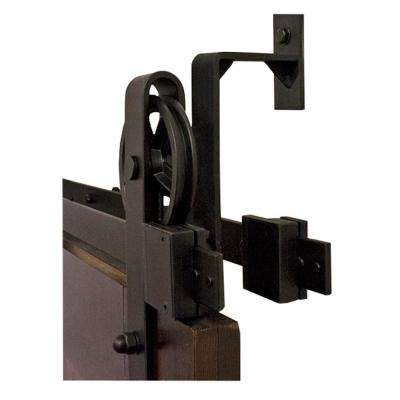 By-Passing Hook Strap Black Rolling Barn Door Hardware Kit with 5 in. Wheel