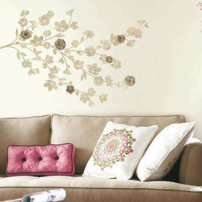 5 in. x 19 in. Floral Blossom with Embellishments 21-Piece Peel and Stick Giant Wall Decal