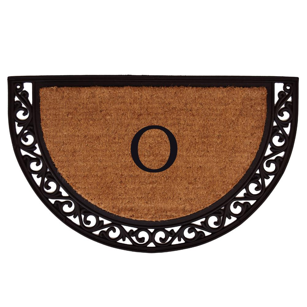 Ornate Scroll 18 in. x 30 in. Monogram O Door Mat