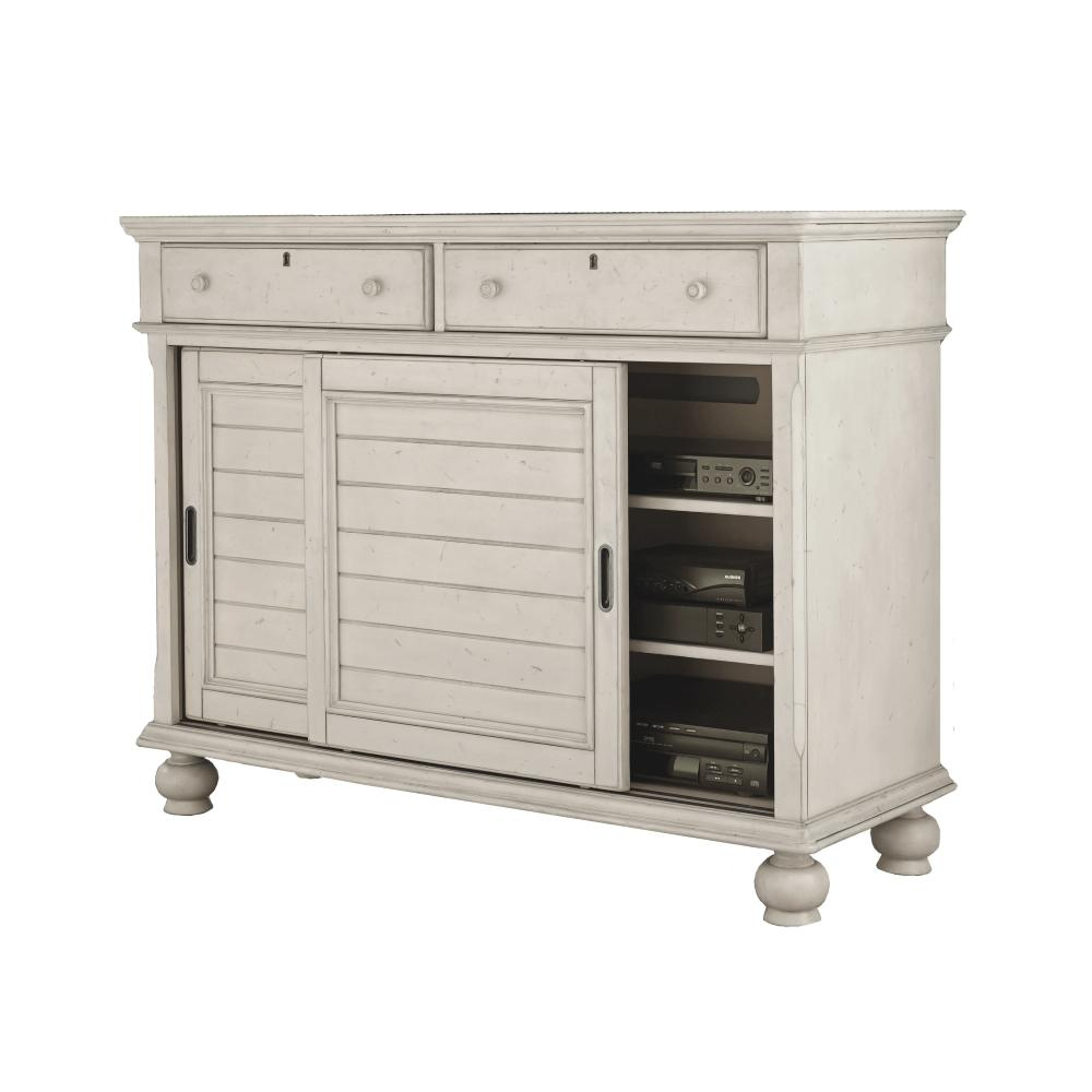 American Woodcrafters Newport 2 Drawer AntiqueWhite Birch Sliding Door  Entertainment Chest