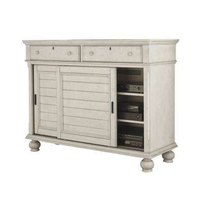 Newport 2-Drawer AntiqueWhite Birch Sliding Door Entertainment Chest