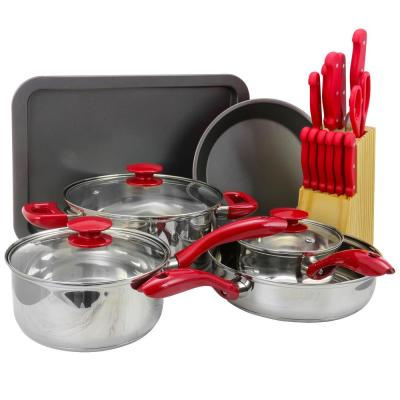 Crawford 22-Piece Red Cookware Combo Set