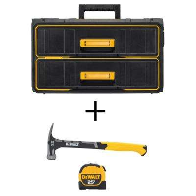 ToughSystem 13.4 in. W Water Seal 2-Drawer Tool Box with Bonus 22 oz. Checkered Face Hammer and 25 ft. Tape Measure
