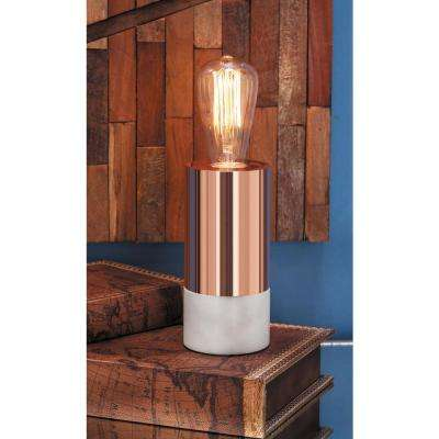 3 in. x 7 in. Modern Bronze-Finished Ball-Shaped Marble and Glass Accent Lamp
