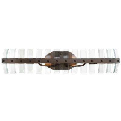 Carson 4-Light Coffee Bronze with Recycled Bent Beveled Glass Bath Light
