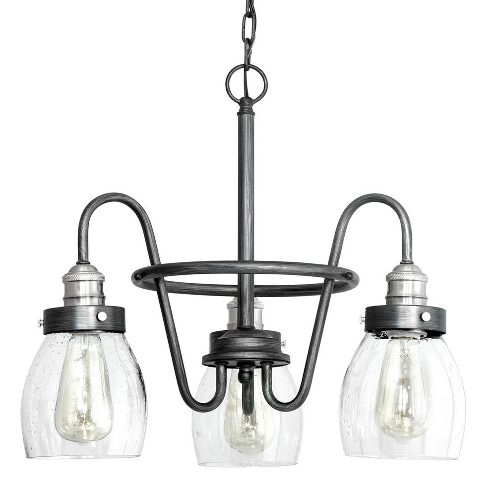 Crofton Collection 3 Light Rustic Pewter Chandelier With Brushed Nickel Accents