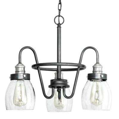 Crofton Collection 3-light Rustic Pewter Chandelier with Brushed Nickel Accents and Clear Seeded Glass
