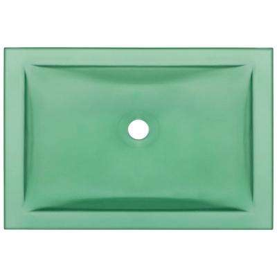 Undermount Glass Bathroom Sink in Emerald