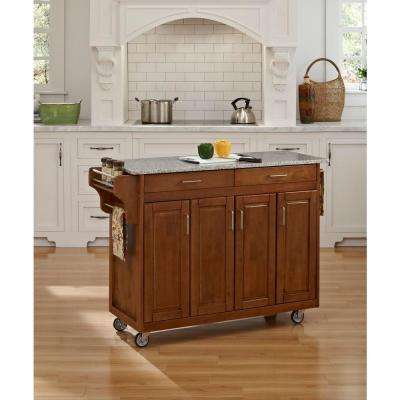 Create-a-Cart Warm Oak Kitchen Cart With Salt and Pepper Granite Top
