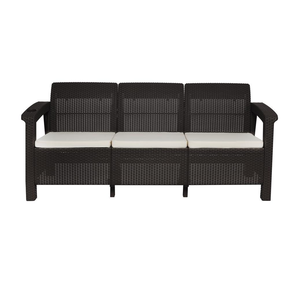 Mq Ferrara Espresso 1 Piece Plastic Outdoor Patio Sofa With A Light Beige Cushion And Cup Holder