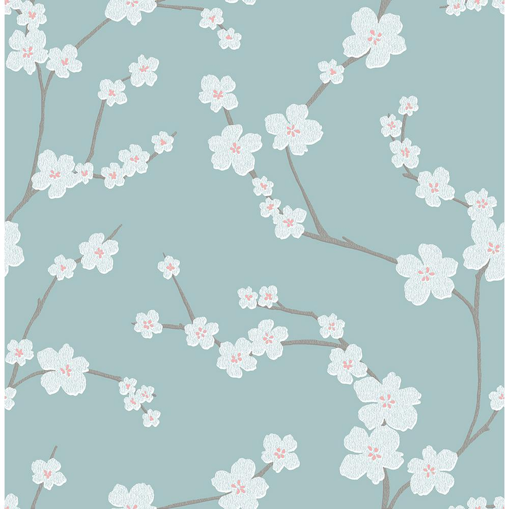 A Street 8 In X 10 In Sakura Turquoise Floral Wallpaper Sample