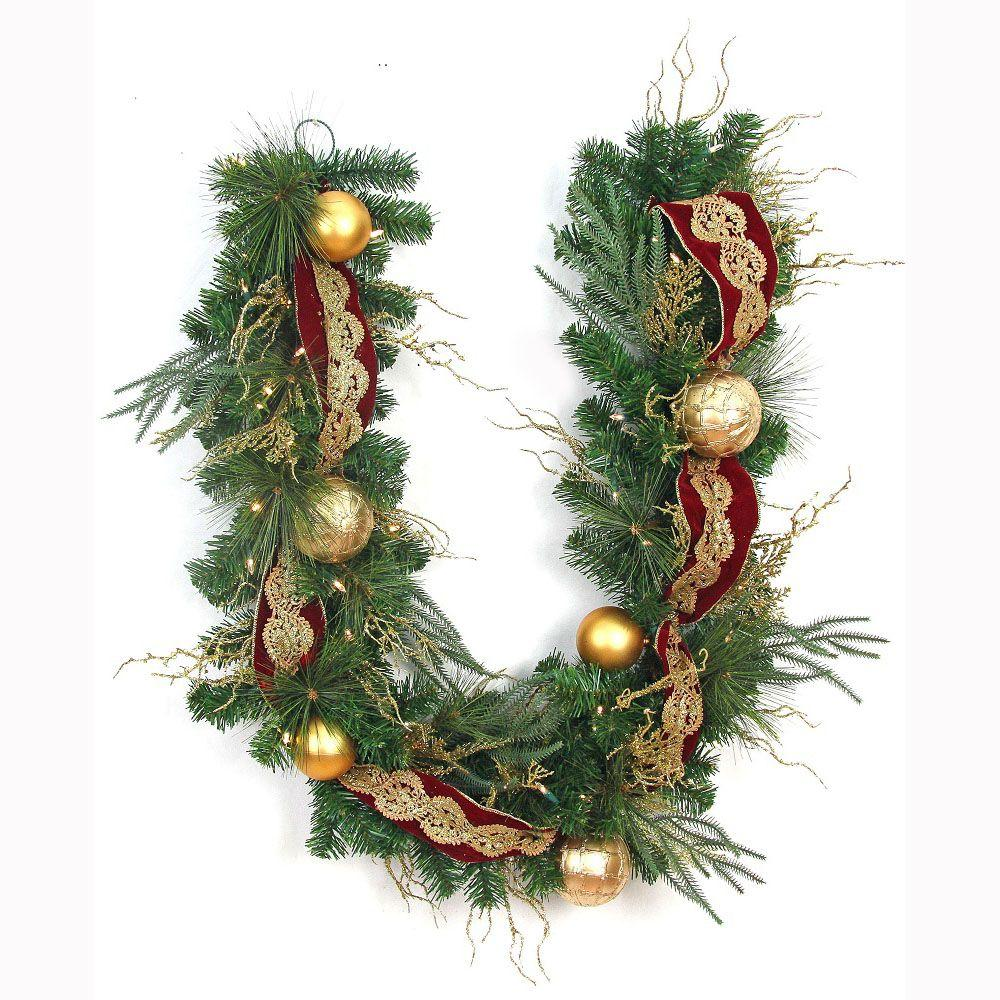 led pre lit valenzia artificial garland with red and
