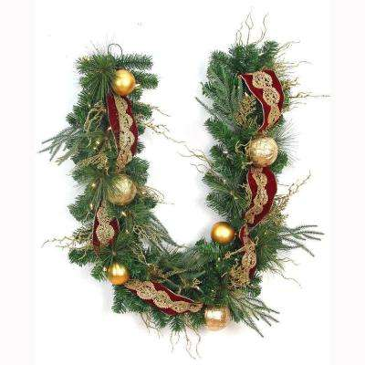 6 ft. LED Pre-Lit Valenzia Artificial Garland with Red and Gold Ribbon, 50 Battery-Operated Warm White Lights