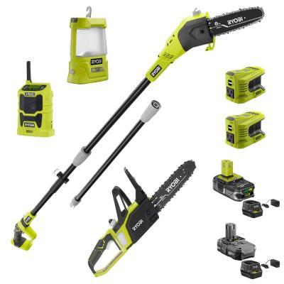 RYOBI ONE+ 18-Volt Lithium-Ion 8-inch Cordless Pole Saw, Chainsaw, Inverter, Radio and Area Light - 2 Batteries and 2 Chargers