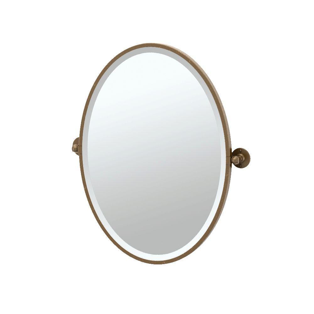 Cafe 24 in. x 28 in. Framed Single Oval Mirror in Bronze