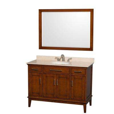 Hatton 48 in. Vanity in Light Chestnut with Marble Vanity Top in Ivory, Sink and 44 in. Mirror
