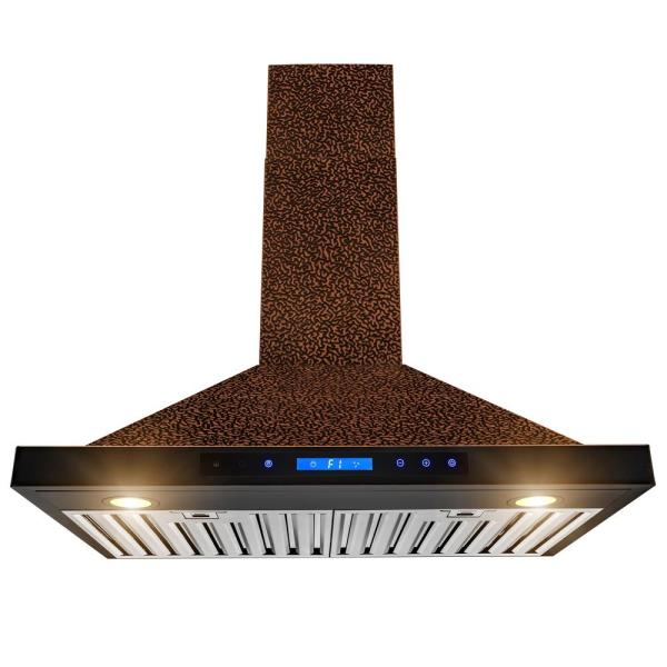 30 in. 343 CFM Convertible Kitchen Wall Mount Range Hood in Embossing Copper with LED and Touch Control