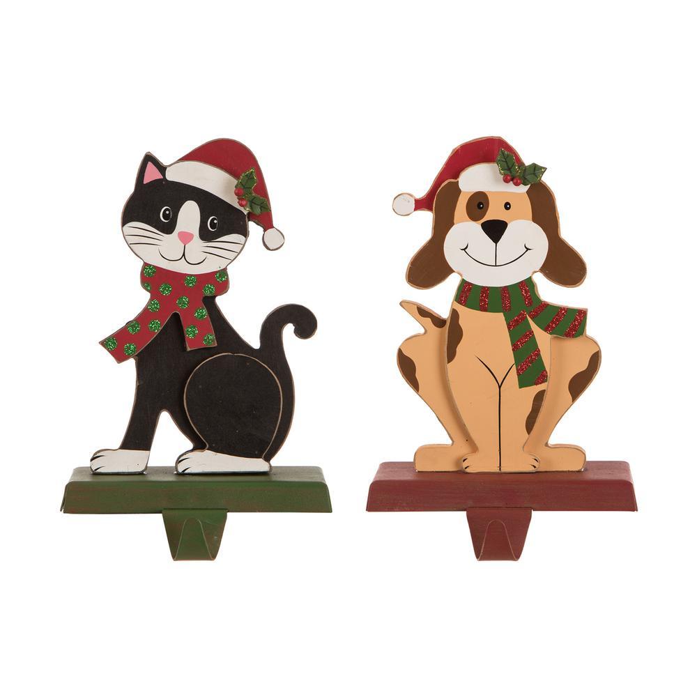 5.00 in. L x 3.82 in. W x 7.76 in. H Wooden/Metal Cat and Dog Stocking Holder Set of 2