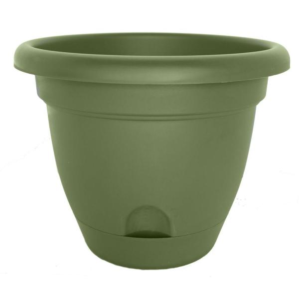 Lucca 15.25 in. Living Green Plastic Self-Watering Planter with Saucer