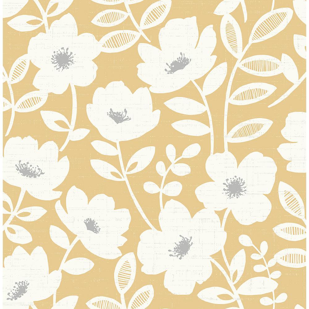 8 in. x 10 in. Bergman Mustard Scandi Flower Wallpaper Sample