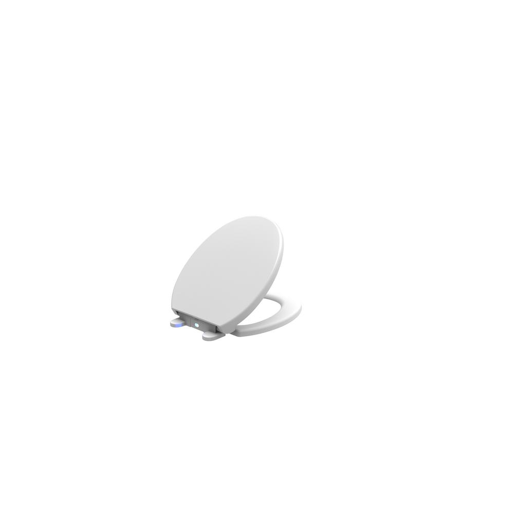 Runfine 17 in. Round Closed Front Toilet Seat in White with LED Sensor Night Light