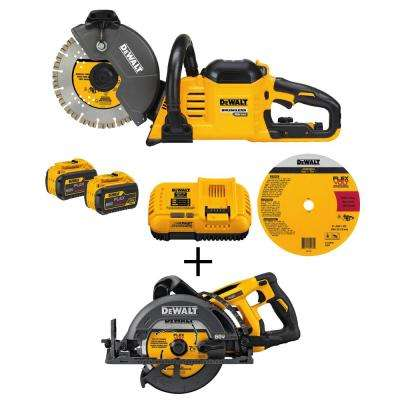 FLEXVOLT 60-Volt Lithium-Ion Cordless 9 in. Construction Saw with Bonus Bare Cordless  7-1/4 in. Wormdrive Circular Saw