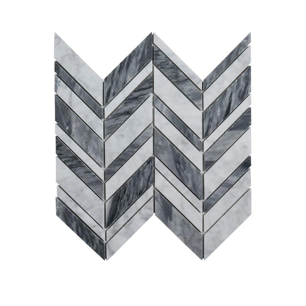 Jeff Lewis Carlton Gray Chevron 11.25 in. x 12 in. x 9 mmMarbleMosaic Wall/Floor Tile
