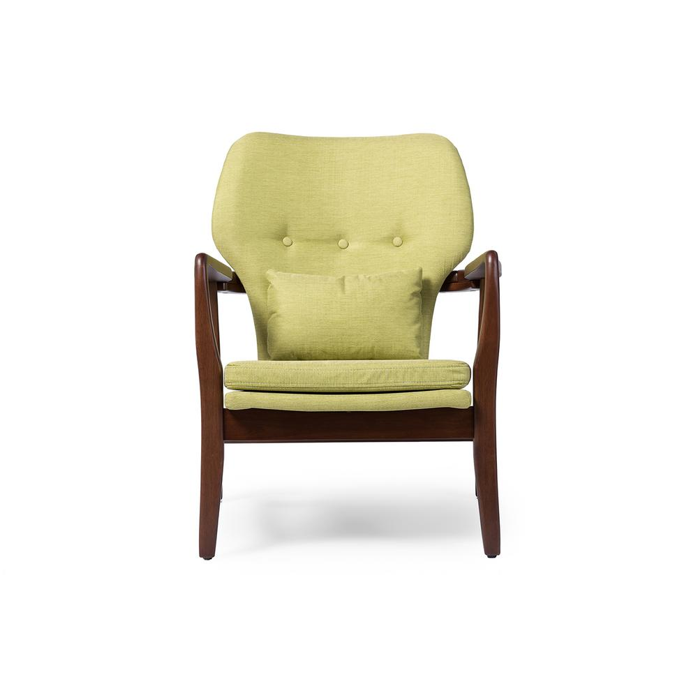 Rundell Mid-Century Green Fabric Upholstered Accent Chair
