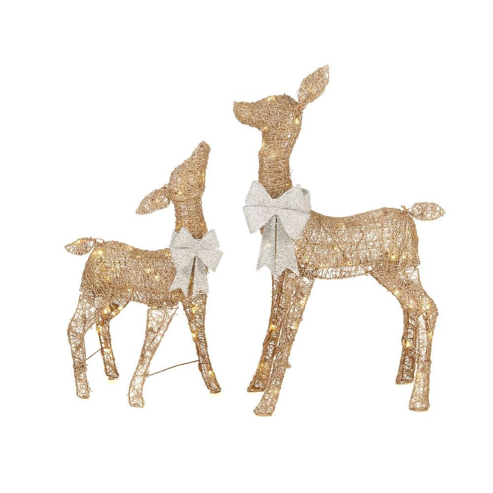 Home Accents Holiday Misty Glimmer 36 in. LED Lighted Gold PVC Deer and 28 in. LED Lighted Gold PVC Doe