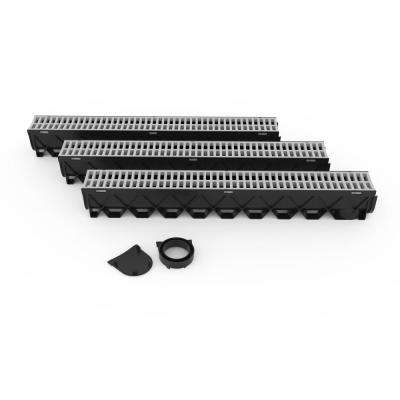 Storm Drain Series 5 in. W x 5.25 in. D x 39.4 in. L Channel Drain Kit with Portland Grey Grate (3-Pack)