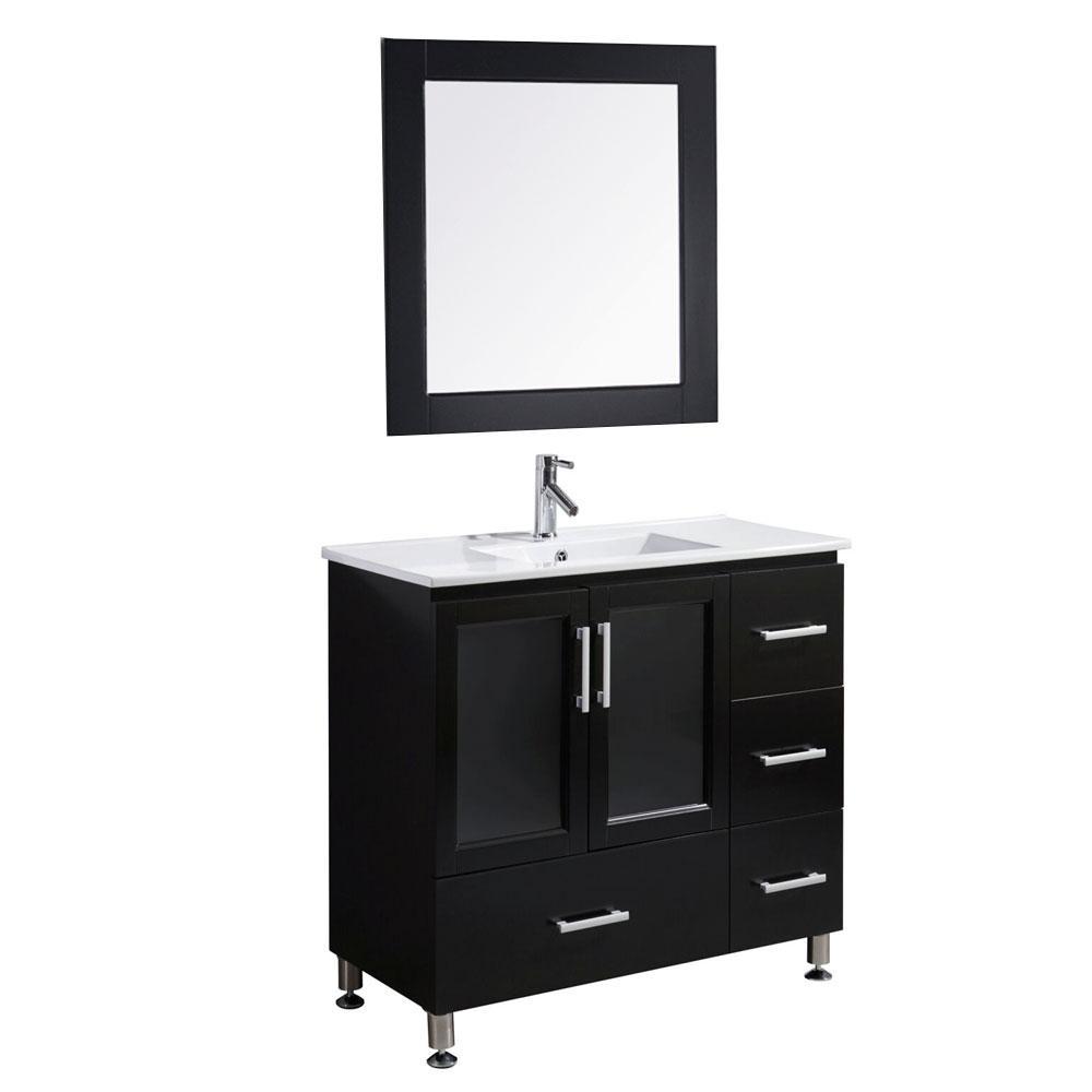 Design Element Stanton 36 in. W x 18 in. D Vanity in Espresso with Single Sink Vanity Top and Mirror