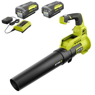 110 MPH 525 CFM 40-Volt Lithium-Ion Cordless Variable-Speed Jet Fan Leaf Blower-Two 4.0 Ah Batteries, Charger Included