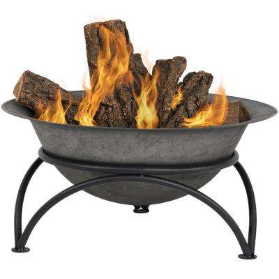 24 in. x 11 in. Round Cast Iron Wood Burning Fire Pit Bowl in Dark Gray