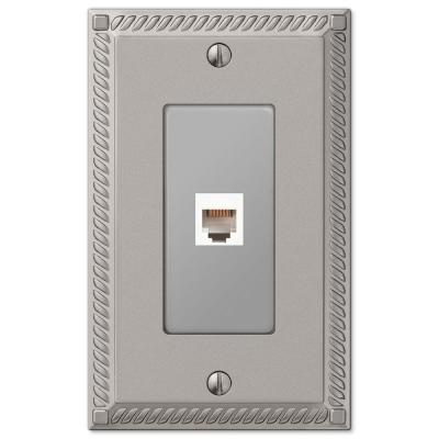 Georgian 1 Gang Phone Metal Wall Plate - Satin Nickel